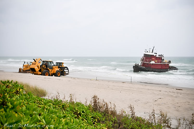 Paul Dimarco Tugboat beached after collision with barge